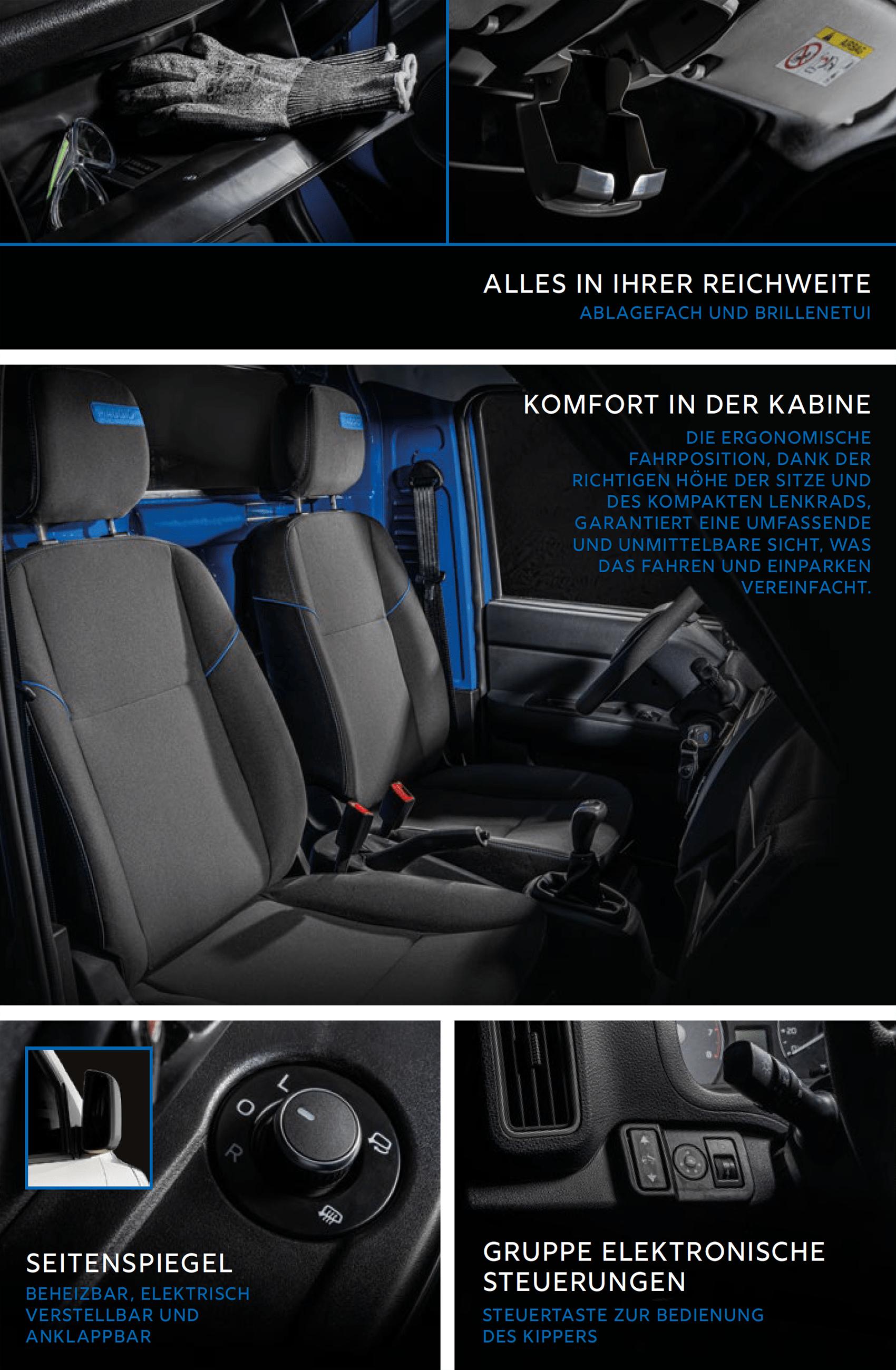 Piaggio Porter NP6 Ausstattung: Zu den Assistenzsystemen zählen ESC, ASR, ABS und EBD. Serienmäßig an Bord sind zudem ein Fahrer-Front und ein Fahrer-Seitenairbag. Weitere Airbags gibt es gegen Aufpreis. Das Cockpit lässt sich in fünf Varianten ausstatten. Möglich sind USB-Steckdosen. Klimaanlage und auch DAB+-Radios. Zur Serienausstattung gehören auch das automatische Notfall-eCall-System und die elektrisch verstellbaren Seitenspiegel mit Einklappfunktion.